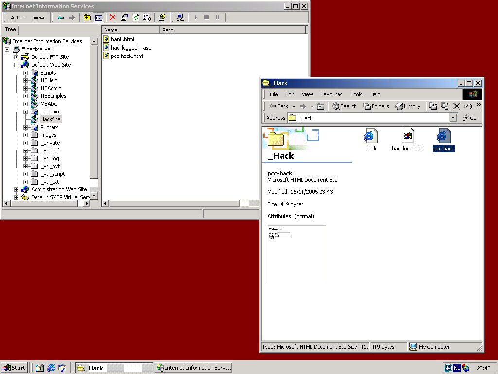 Screenshot of IIS Manager on the HackServer.